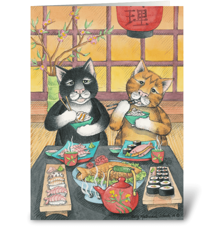 Sushi Lover Cats Birthday #43 greeting card