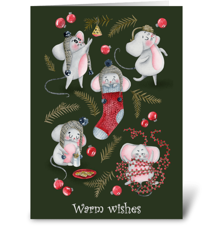 Holiday Mouse Fun/green greeting card