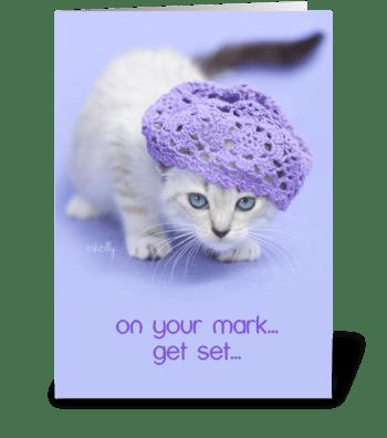 On your mark... Birthday CAKE kitten greeting card