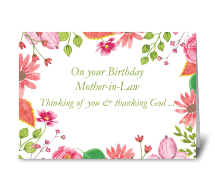 Mother-in-Law Watercolor Flower Birthday greeting card