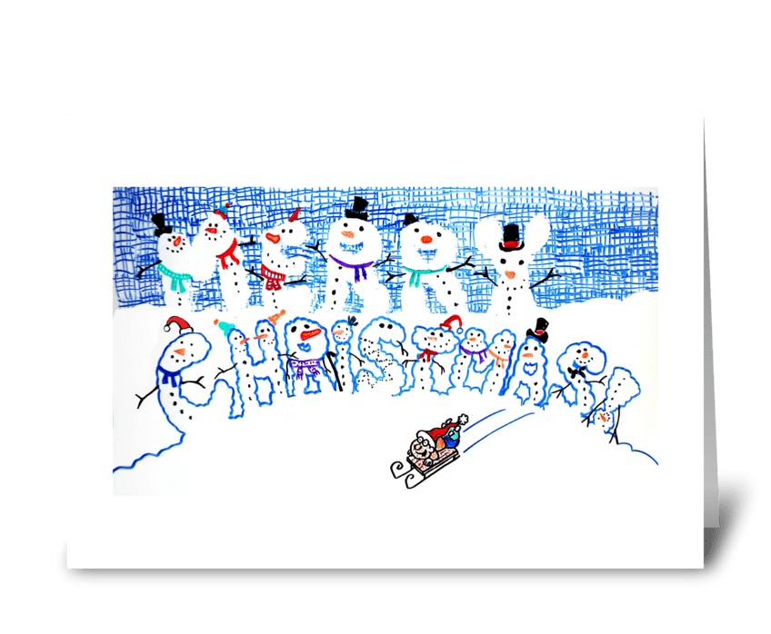 Merry Christmas Snowmen greeting card