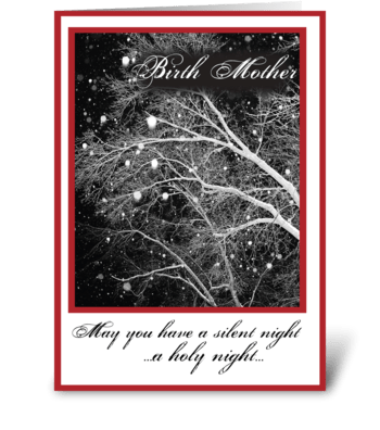 Birth Mother, B&W Religious Christmas greeting card