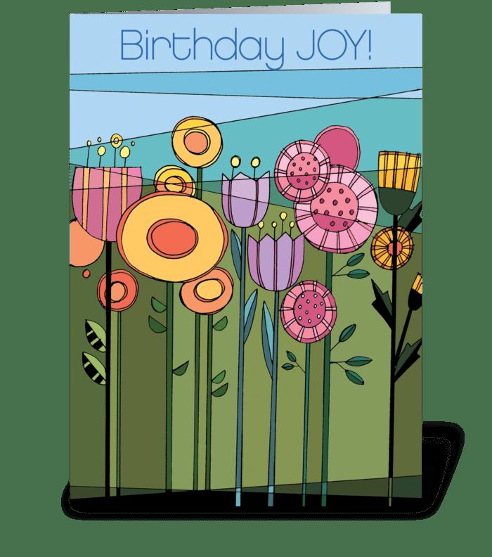 Floral Fetish Birthday JOY greeting card