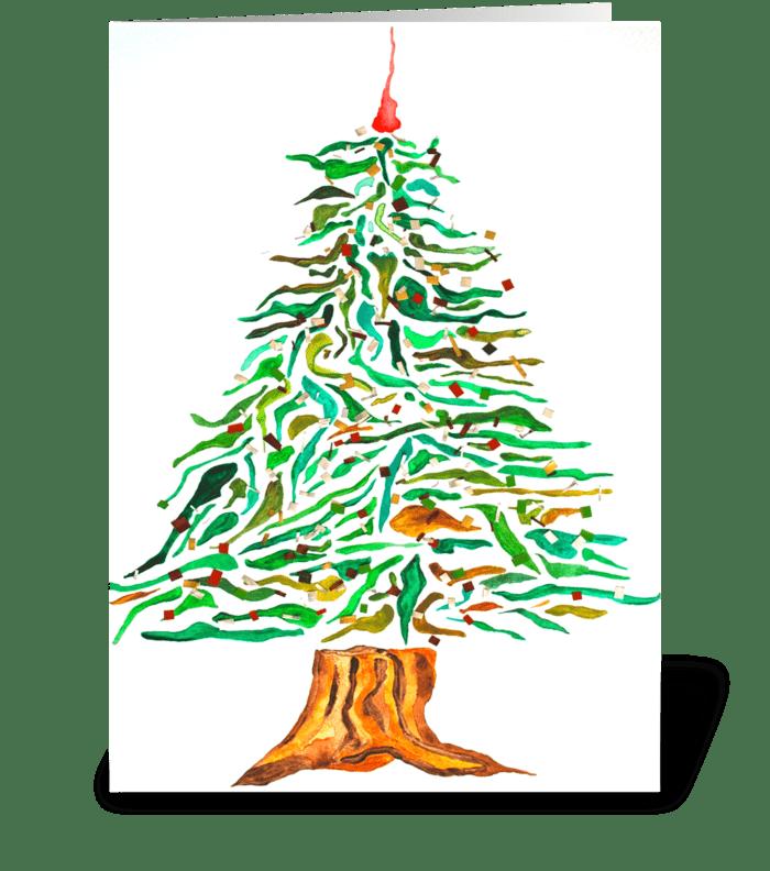 Artsy Holiday Tree greeting card