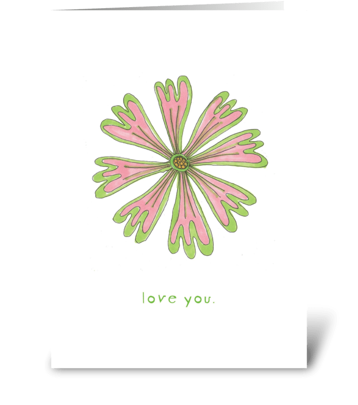 pink flower - love you greeting card