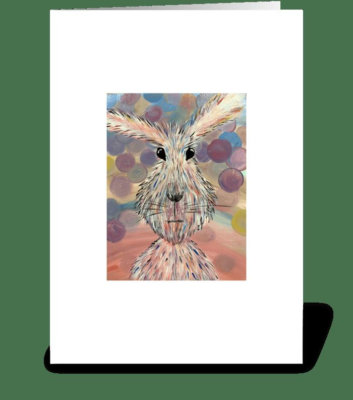 Fluffy Bunny greeting card