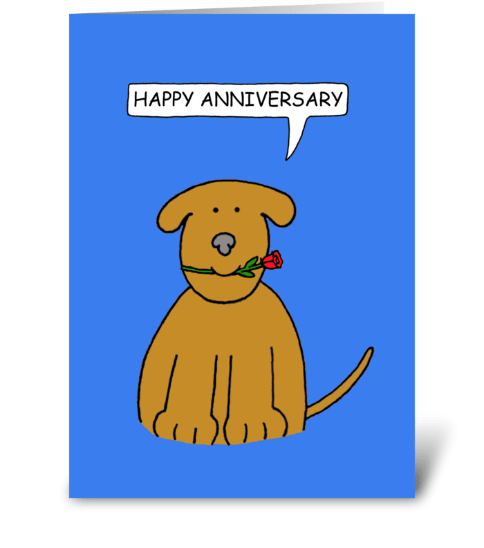 Happy Anniversary, Cute Puppy. greeting card