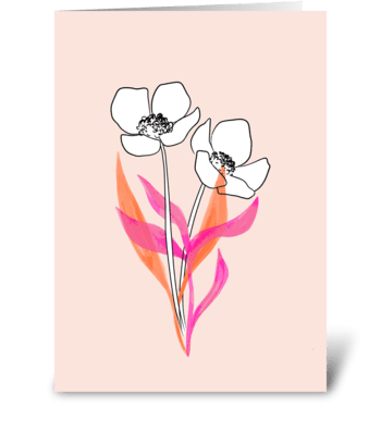 Pretty Flowers Just Because greeting card