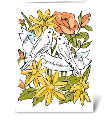 Congratulations Love Birds greeting card