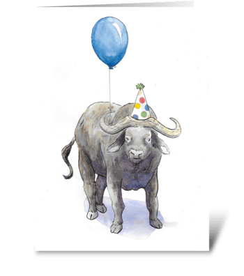 Ox Party Animal greeting card