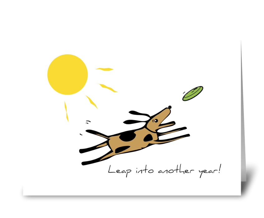 Leap Dog Birthday greeting card