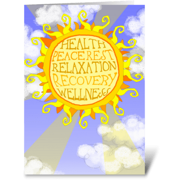 Healing thoughts sun card greeting card