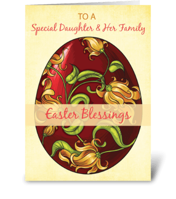 Daughter & Her Family, Easter Blessings greeting card