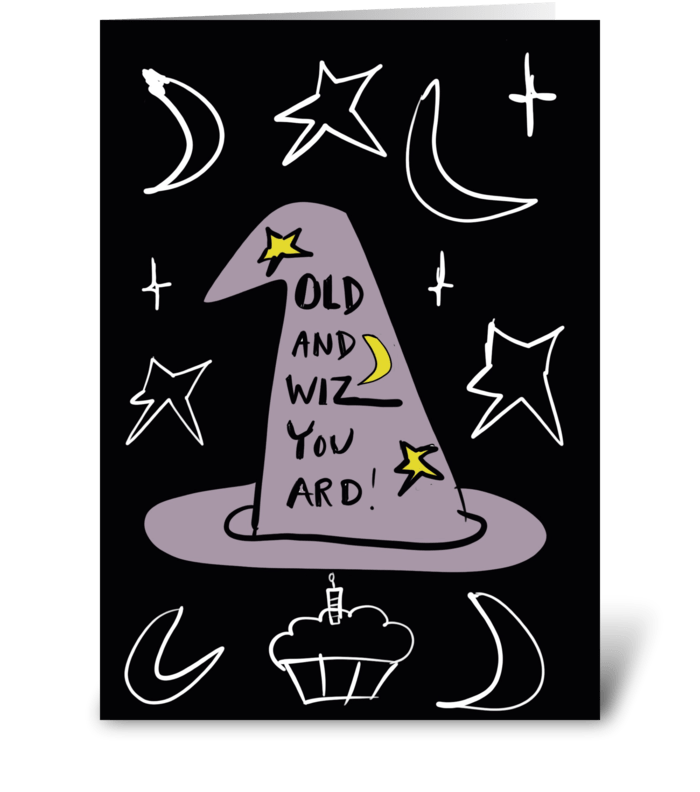 Old and Wizard greeting card