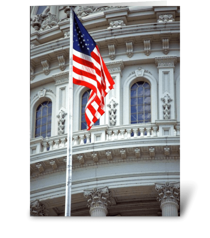 American Flag/US Capitol greeting card