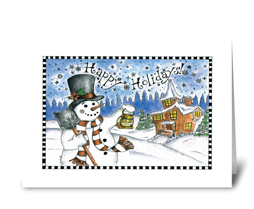Snowman Lighting the Way greeting card