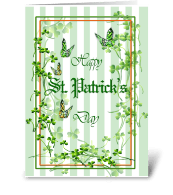 St. Patrick's Day, Clover and Butterfly greeting card