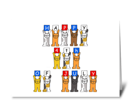Happy 4th of July Cartoon Cats greeting card