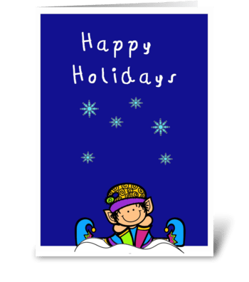 cute elf in the snow happy holidays card greeting card