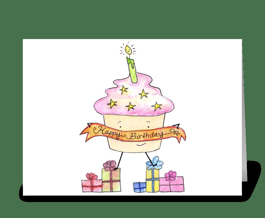 Happy Birthday Cupcake & Presents greeting card