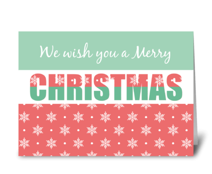 Merry Christmas Two Toned Typography greeting card