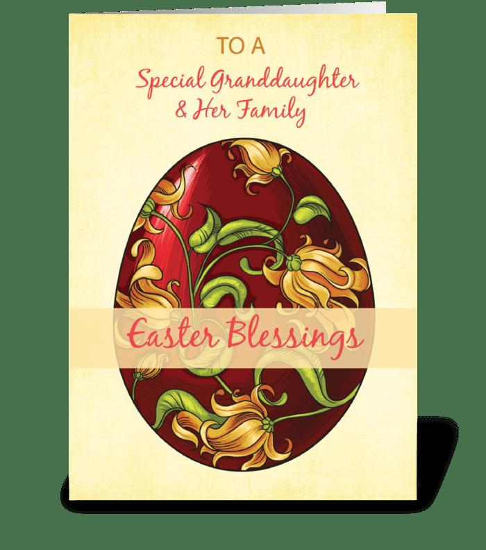 Granddaughter & Her Family, Easter Bless greeting card