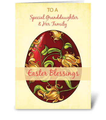 Granddaughter & Her Family, Easter Bless greeting card