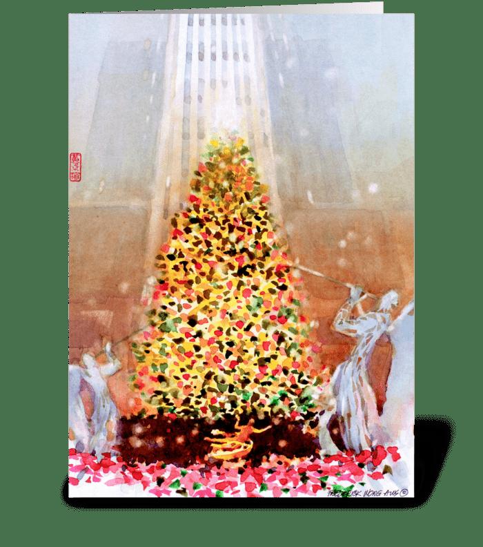 Rockefeller Center Tree - Frederick Wong greeting card