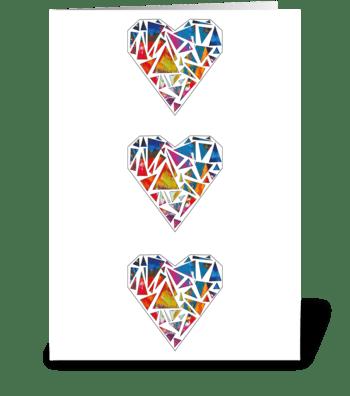 Geometric Hearts Card greeting card