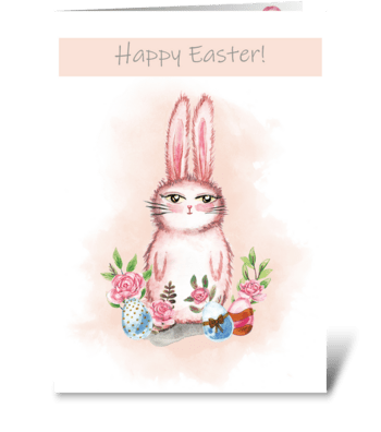 Easter card with cute rabbit greeting card