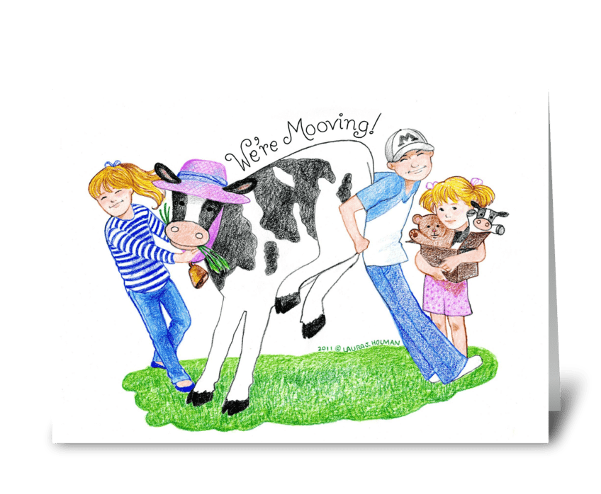 "We're ""Mooving"" Announcement greeting card"