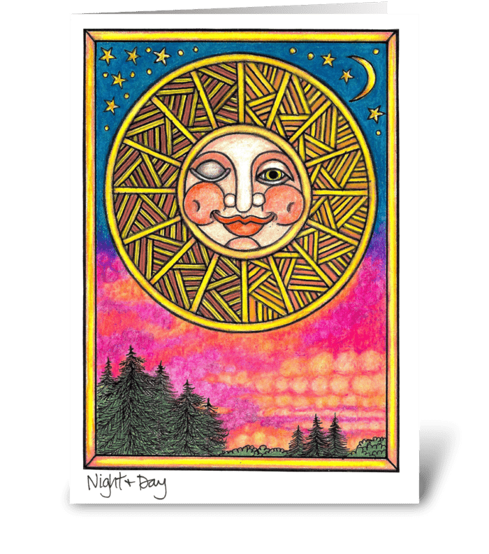 Night & Day greeting card
