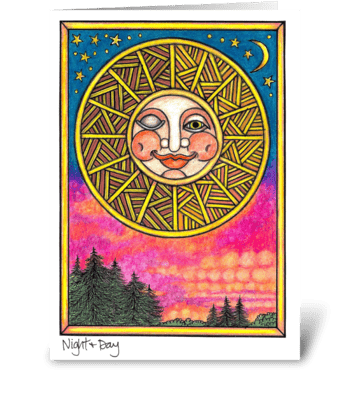Night & Day greeting card