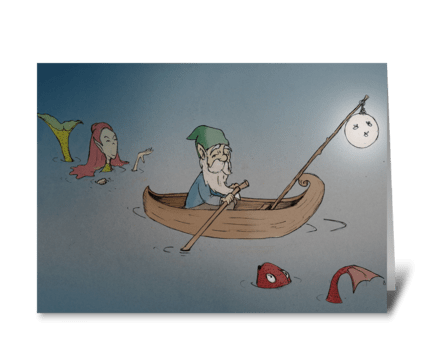 Gnome in the Water greeting card