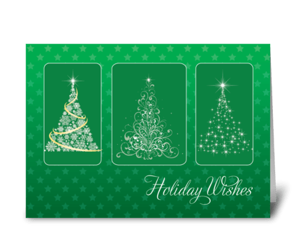 Christmas Trees Bright Light Stars greeting card