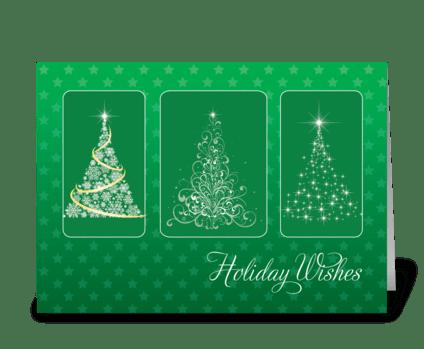 Christmas Trees Bright Light Stars greeting card