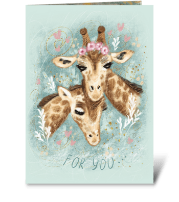 Cute spotted giraffes greeting card