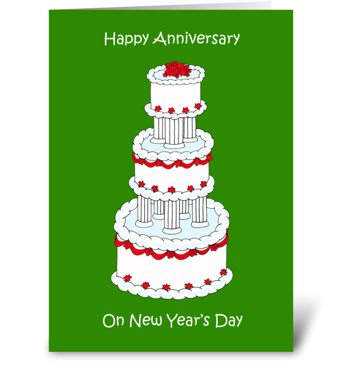 Wedding Anniversary on New Year's Day greeting card