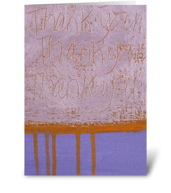 Thank You Painting - White on Purple greeting card