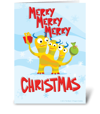 Merry Merry Merry Christmas Monsters greeting card