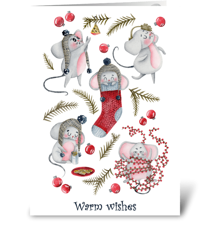 Holiday Mouse Fun/ white greeting card