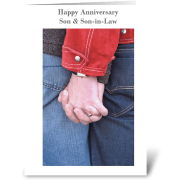 Happy Anniversary Son and Son-in-Law greeting card