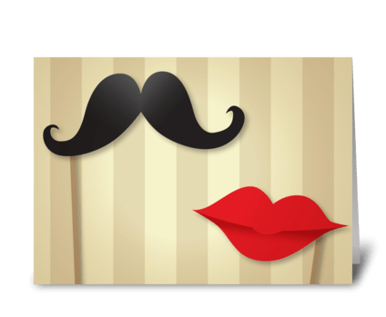Wedding Vintage Moustache And Lips greeting card