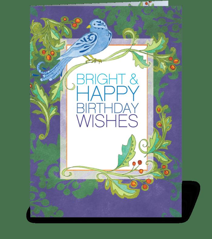 Blue Bird Birthday greeting card