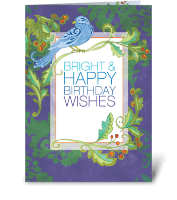 Blue Bird Birthday greeting card