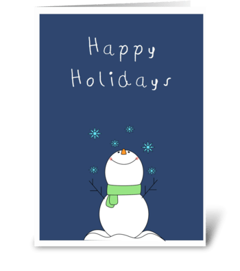Cute snowman wishing you Happy Holidays  greeting card