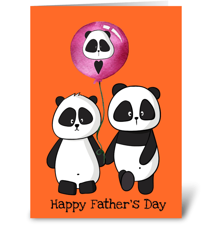 Fathers Day 2 Pandas greeting card