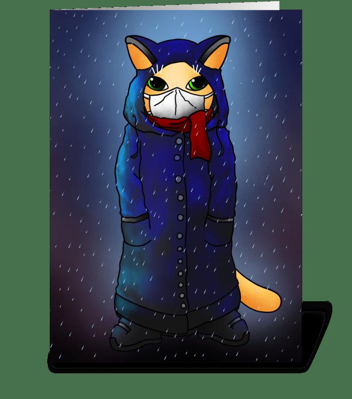Night Rain Face Mask Cat greeting card