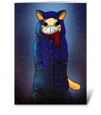 Night Rain Face Mask Cat greeting card