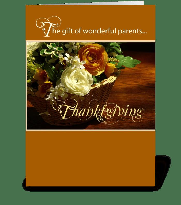 4001 Wonderful Parents at Thanksgiving greeting card